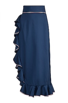 Navy Blue Ruffled Midi Skirt by DOOR OF MAAI