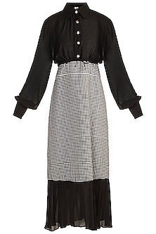 Black & White Ruffled Camisole Dress With Shirt by DOOR OF MAAI