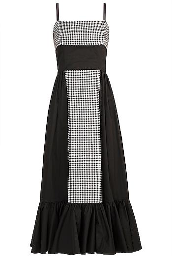 Black & White Checkered Frill Dress by DOOR OF MAAI