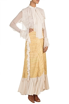 Ochre Yellow High-Low Ruffled Skirt by DOOR OF MAAI