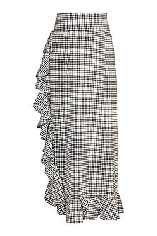 Black & White Checkered Ruffled Skirt by DOOR OF MAAI