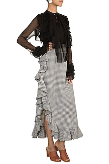 Black & White Checkered Ruffled Skirt by DOOR OF MAAI