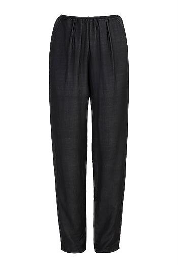 Black Elasticated Pants by DOOR OF MAAI