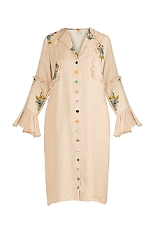 Frosted Almond Printed Ruffled Dress by DOOR OF MAAI