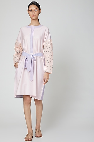 Baby Pink Printed Shirt Dress With Belt by DOOR OF MAAI