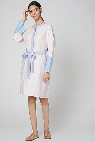 Baby Pink & Blue Printed Shirt Dress With Belt by DOOR OF MAAI