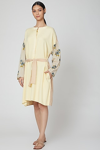Lemon Yellow Printed Shirt Dress With Belt by DOOR OF MAAI