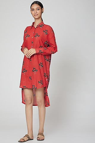 Blood Red Printed Tunic Dress by DOOR OF MAAI