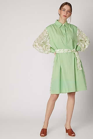Lime Green Shirt Dress With Belt by DOOR OF MAAI