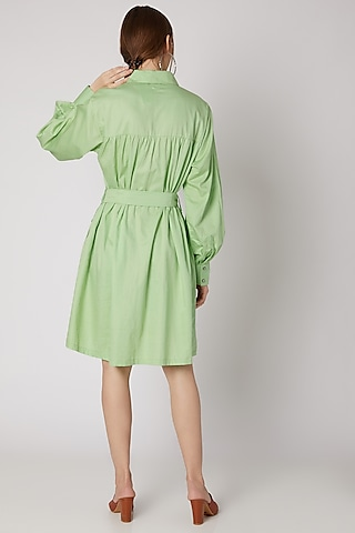 Lime Green Collared Shirt Dress With Belt by DOOR OF MAAI