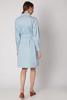 Cobalt Blue Shirt Dress With Belt by DOOR OF MAAI