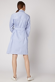Sky Blue Collared Shirt Dress by DOOR OF MAAI