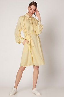 Yellow Shirt Dress With Belt by DOOR OF MAAI