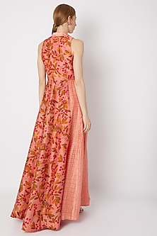 Peach Embroidered & Printed Trench Maxi Dress by Drishti & Zahabia