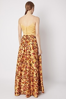 Yellow Embroidered & Printed Maxi Dress by Drishti & Zahabia