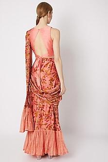 Peach Embroidered & Printed Pre-Draped Saree by Drishti & Zahabia