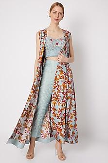 Sky Blue Embroidered & Printed Cape Set by Drishti & Zahabia