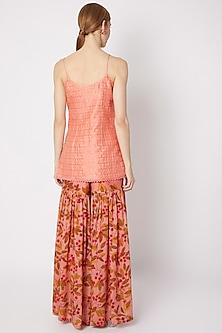 Peach Embroidered Top With Sharara Pants by Drishti & Zahabia