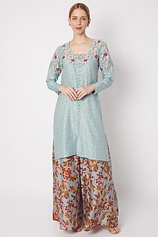 Sky Blue Embroidered Kurta With Printed Palazzo Pants by Drishti & Zahabia