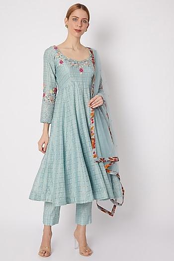 Sky Blue Embroidered Anarkali Set by Drishti & Zahabia