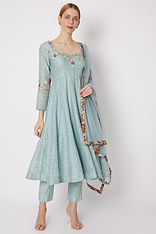Sky Blue Embroidered Anarkali Set by Drishti & Zahabia