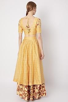 Yellow Embroidered Layered Lehenga Set by Drishti & Zahabia