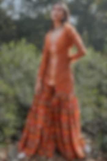 Rust Orange Embroidered Sharara Set by Drishti & Zahabia