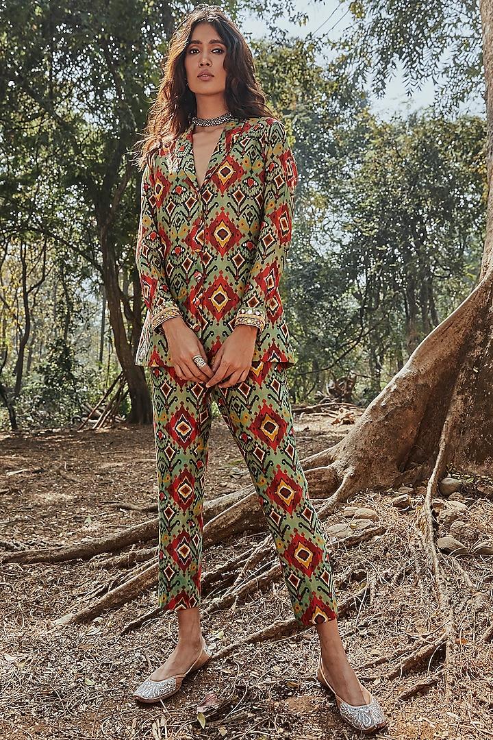 Green Embroidered Pant Set by Drishti & Zahabia