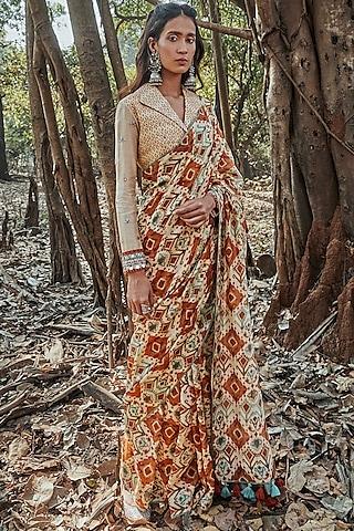 Beige Embroidered Saree Set by Drishti & Zahabia