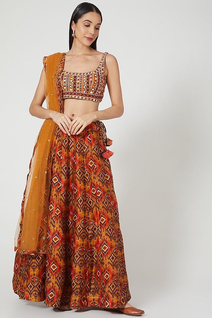 Rust Orange Embroidered & Printed Lehenga Set by Drishti & Zahabia
