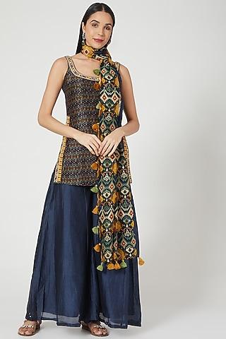 Midnight Blue Printed & Embroidered Kurta Set by Drishti & Zahabia
