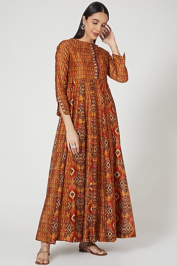 Rust Orange Printed Maxi Dress by Drishti & Zahabia