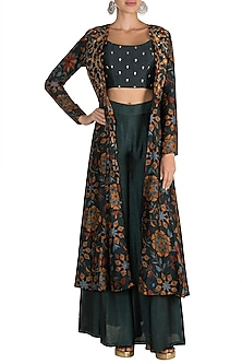 Bottle Green Printed Jacket With Embroidered Crop Top & Palazzo Pants by Drishti & Zahabia