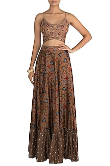 Brown Printed Skirt With Embroidered Strappy Blouse by Drishti & Zahabia
