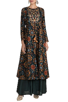 Bottle Green Embroidered & Printed Tunic With Palazzo Pants by Drishti & Zahabia