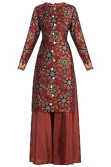 Maroon Embroidered & Printed Kurta With Palazzo Pants by Drishti & Zahabia