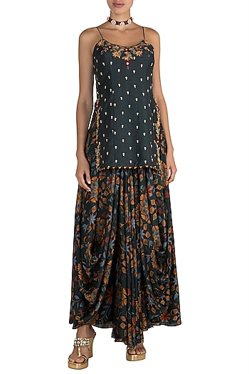 Bottle Green Embroidered Top With Printed Cowl Skirt by Drishti & Zahabia
