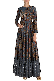 Grey Embroidered & Printed Maxi Dress by Drishti & Zahabia