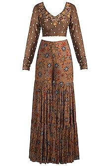 Brown Embroidered Crop Top With Printed Sharara Pants by Drishti & Zahabia