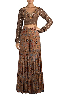 Brown Embroidered Crop Top With Printed Sharara Pants by Drishti & Zahabia