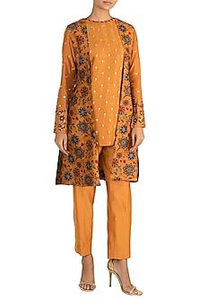 Mustard Yellow Embroidered Kurta With Printed Jacket & Pleated Pants by Drishti & Zahabia