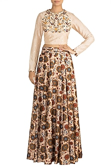 Off White Embroidered Blouse With Printed Kali Skirt by Drishti & Zahabia