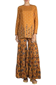 Mustard Yellow Embroidered Kurta With Printed Sharara Pants by Drishti & Zahabia