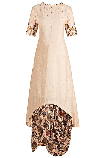 Off White Embroidered Kurta With Printed Cowl Skirt by Drishti & Zahabia
