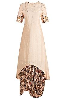 Off White Embroidered Kurta With Printed Cowl Skirt by Drishti & Zahabia