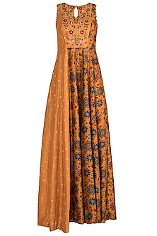 Mustard Yellow Embroidered & Printed Maxi Dress by Drishti & Zahabia