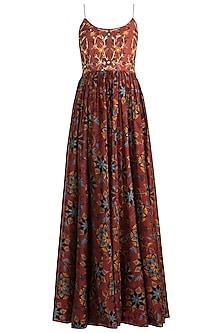 Maroon Embroidered & Printed Maxi Dress by Drishti & Zahabia