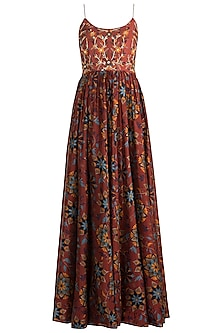 Maroon Embroidered & Printed Maxi Dress by Drishti & Zahabia