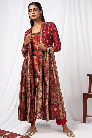 Cherry Red Printed & Embroidered Jacket Set by Drishti & Zahabia