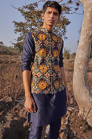 Cobalt Blue Printed Jacket Set by Drishti & Zahabia Men